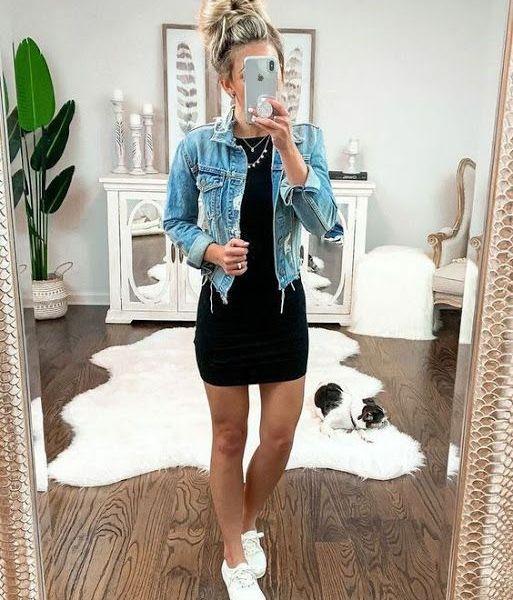 Look com vestido e jaqueta