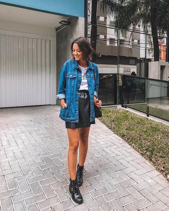jaqueta jeans com coturno