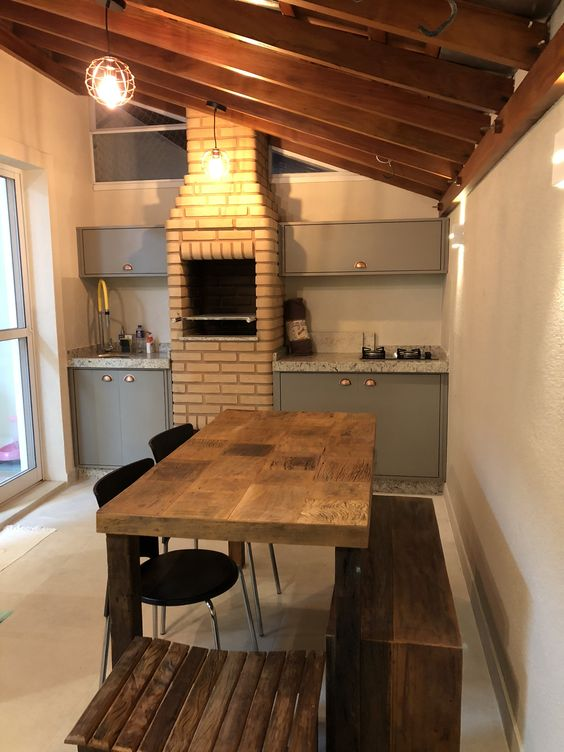 area gourmet pequena e simples com churrasqueira
