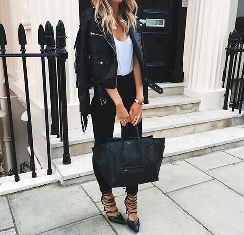 look com jaqueta de couro feminina