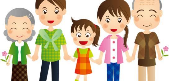 手を繋ぐ家族