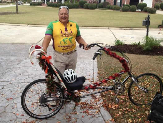 Holiday Dinner Ride 2012 — John Supan was awarded first place for most festively decorated bike.