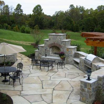 Flagstone Patio With outdoor Fireplace Fairfax County, VA