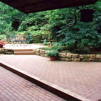 Stunning Brick Patio Alongside Garden