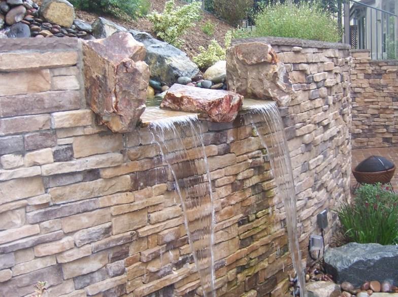 Beautiful Garden Waterfall Retaining Wall