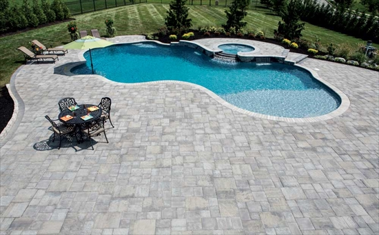 Outdoor Pool with Stone Patio