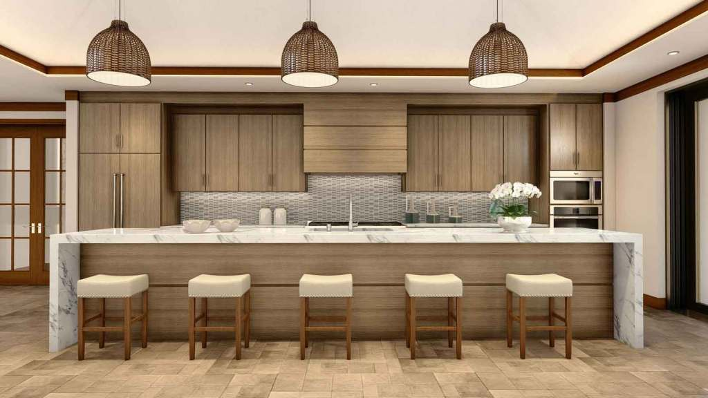 The kitchen and dining area of a Crescent Homes Maui home