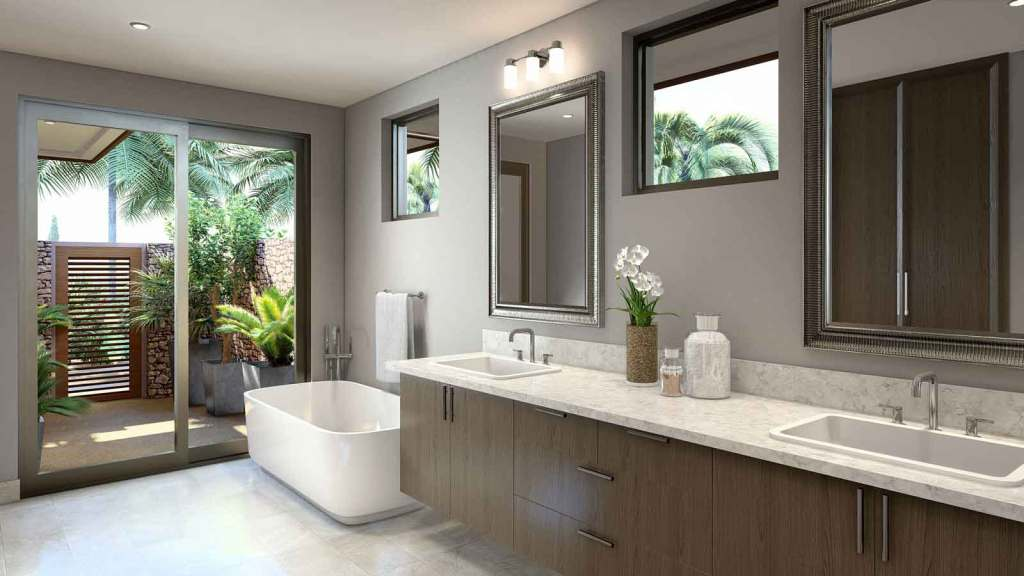 The master bath of a Maui home built by Crescent Homes Maui