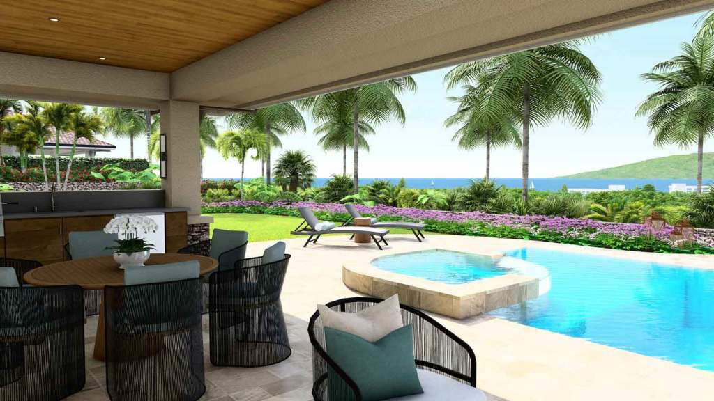 Outdoor covered patio and swimming pool in a custom-built home on Maui