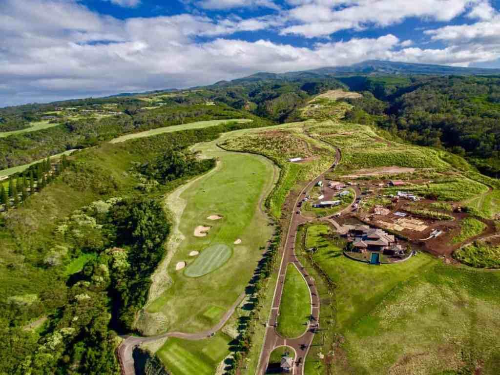 Mahana Estates at Kapalua Maui, aerial view showing adjoining PGA golf course