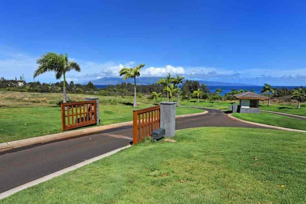 Gated entry at Mahana Estates at Kapalua, Maui