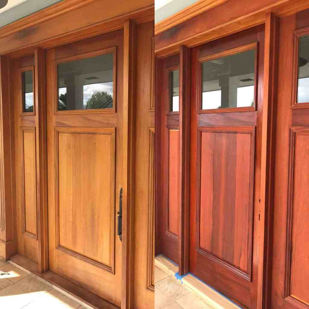 Side-by-side front door before and after wood restoration