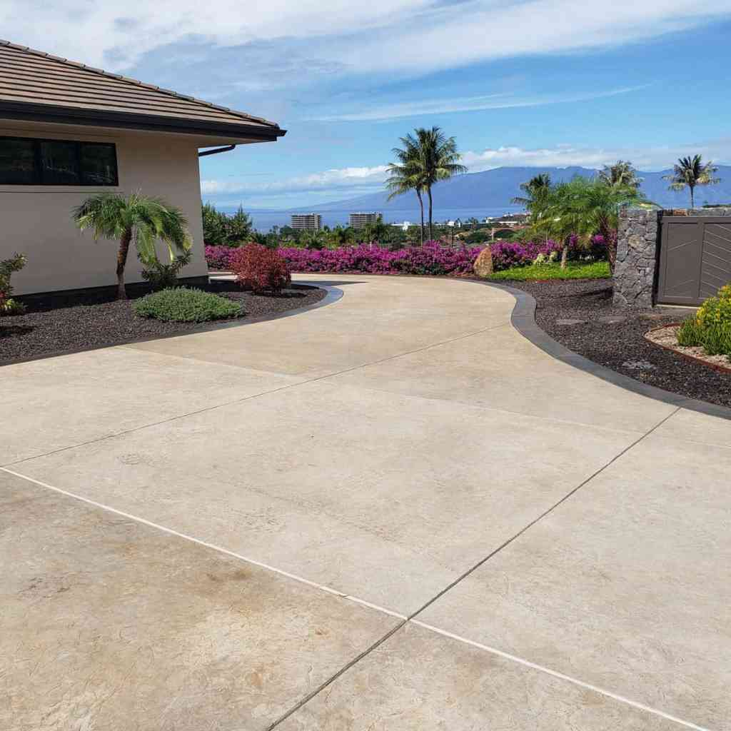 curving driveway with concrete edging
