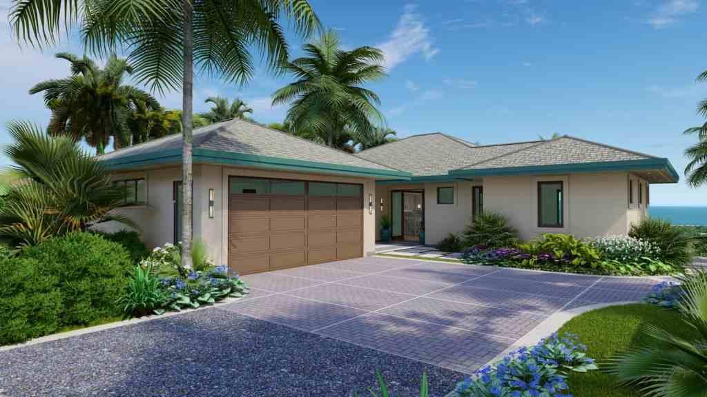 Garage and entrance to new home on Lot 51, 27 Kaulele, Kaanapali, Maui