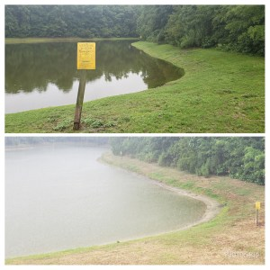 2 side by side pictures of a pond to show the difference of what rain makes