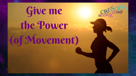 "Gold Sunrise or sunset with woman in a baseball hat running with the text ""Give me the Power (of Movement)"""