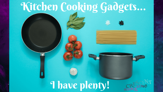 "Bright light blue background with pan, pot, spaghetti noodles, tomatoes, basil leaves and garlic with the text in white ""Kitchen Cooking Gadgets... I have plenty!"""