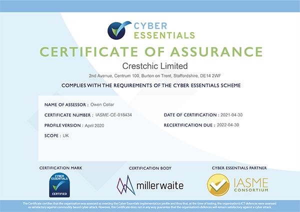 Crestchic obtient la certification « Cyber Essentials »