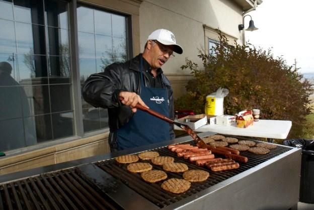 Bart Benoit makes burgers and hot dogs