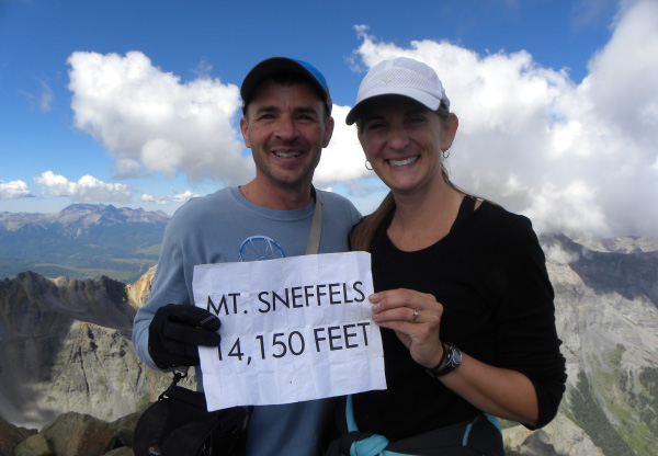 Photo of Pastor Mark and wife Deone on top of Mt Sneffels.