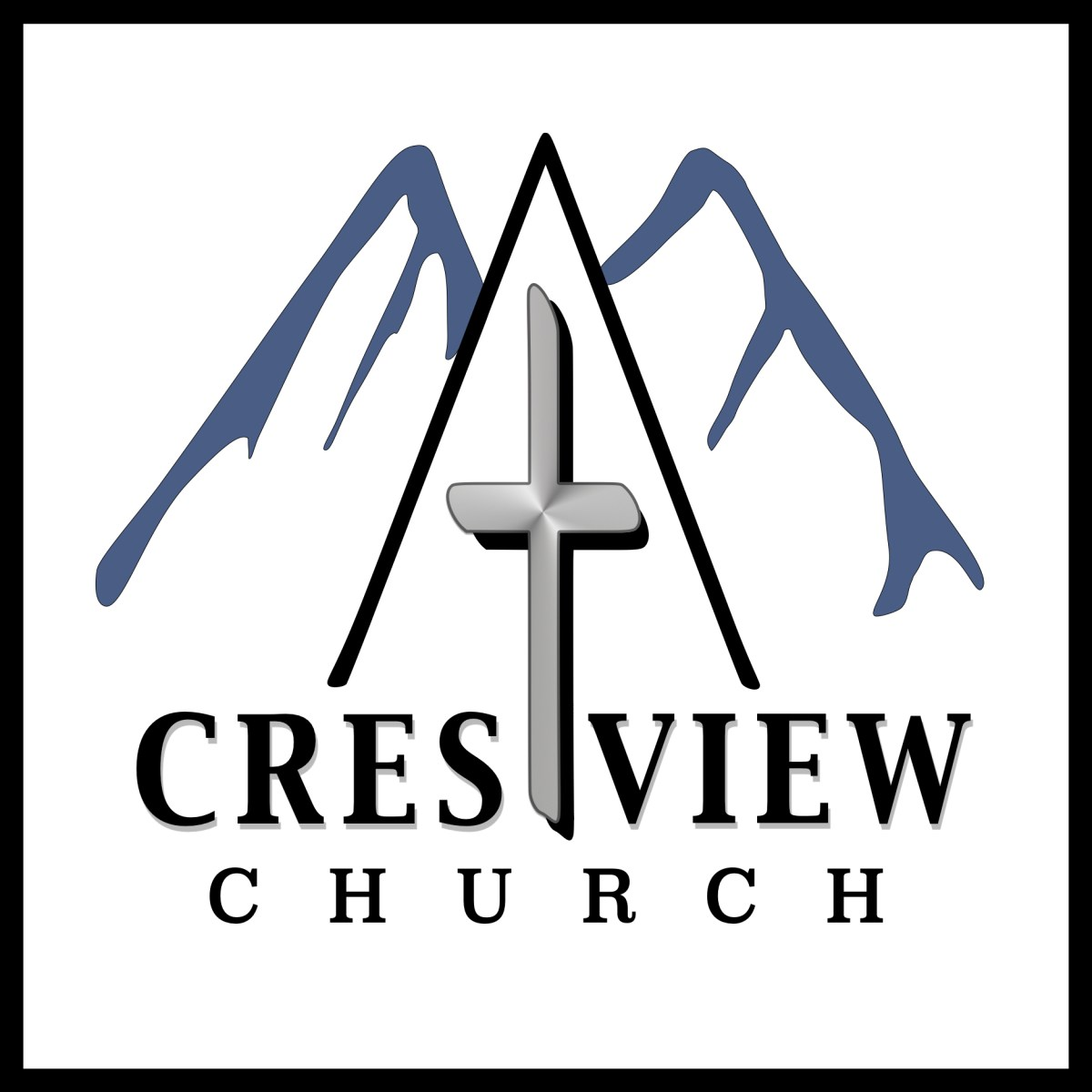 Crestview Church square logo with cross and mountains.