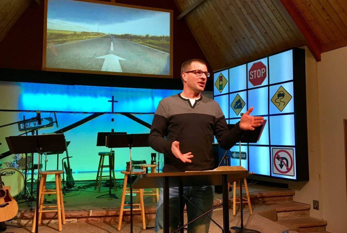 Photo of Pastor Mark giving the message on Sunday morning.