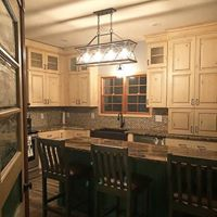 Custom Kitchen with Color Matched Island and Rustic Painted Perimeter
