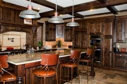 Rustic Kitchen with large hood and island