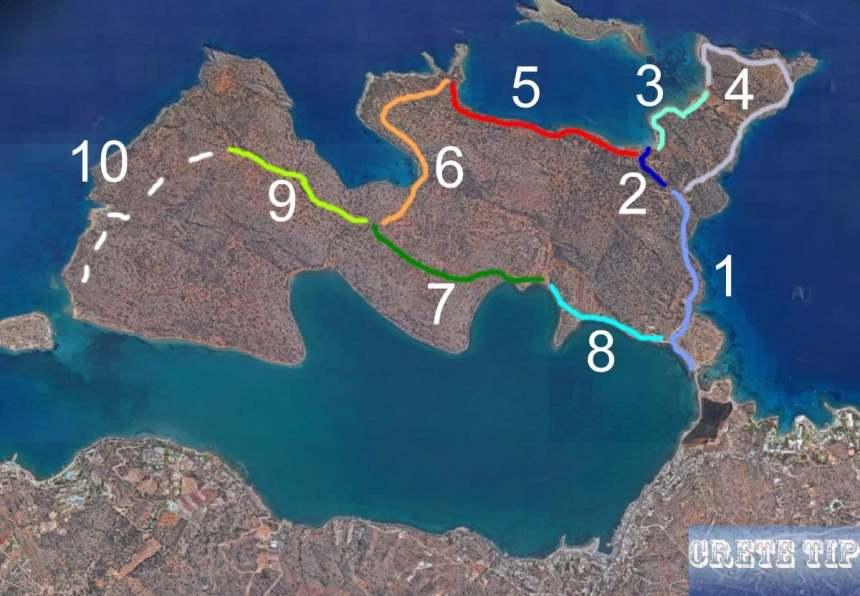 Ways and paths on the Spinalonga peninsula.
