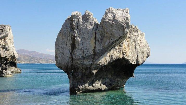 The imposing rock in Preveli Beach