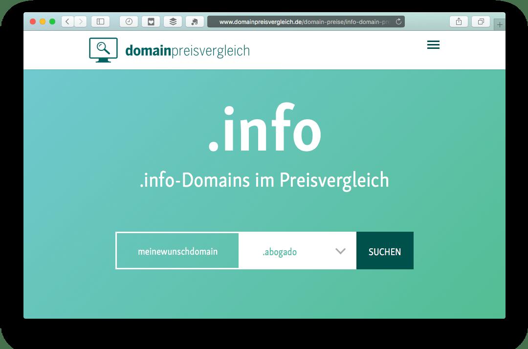 Domain-Preisvergleich mit Verfügbarkeitsprüfung