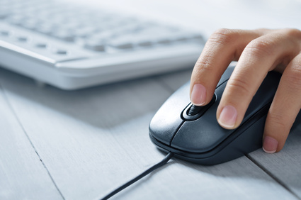 Female hand on keyboard