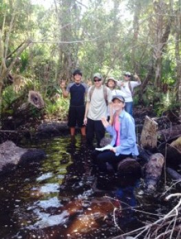 Students posing for a picture in the swamp