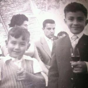 Antonio and his brother, getting a taste for sherry! Reproduced with permission