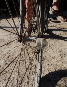 Luz instalada en rueda de bicicleta