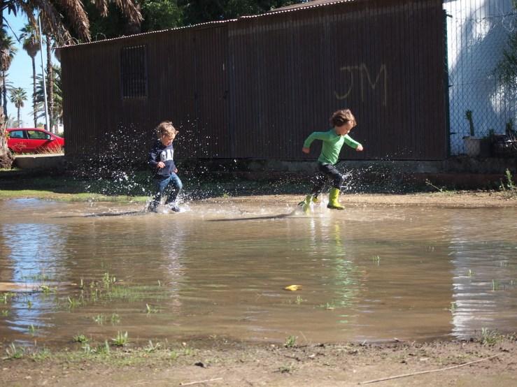 Niños corriendo en un charco muy grande en un parque