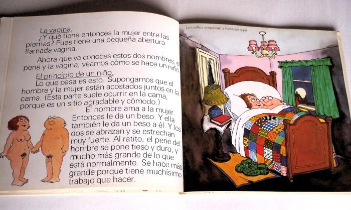 """Paginas del libro """"De donde venimos"""" donde se ve a una pareja en la cama. En la otra página se ve a una hombre y una mujer desnudos dados de la mano."""