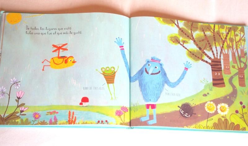 """Página de """"Pájaro amarillo"""" donde se ven a los protagonistas felices en el campo"""