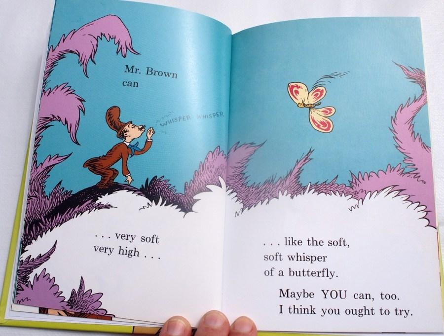 Pagina del oibro Mr Brown can moo donde se le ve murmurando el aleteo de una mariposa