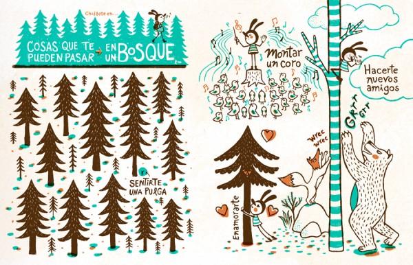 Página de la revista Pantera Magazine. Se ven unos dibujos y el tema es que hacer en un bosque