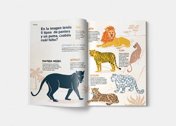Página de la revista Pantera Magazine donde se ven felinos