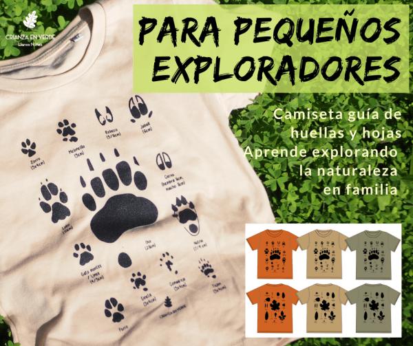 """Portada anuncio de las camisetas de huellas donde dice """"Para pequeños exploradores"""" y una foto de la camiseta"""