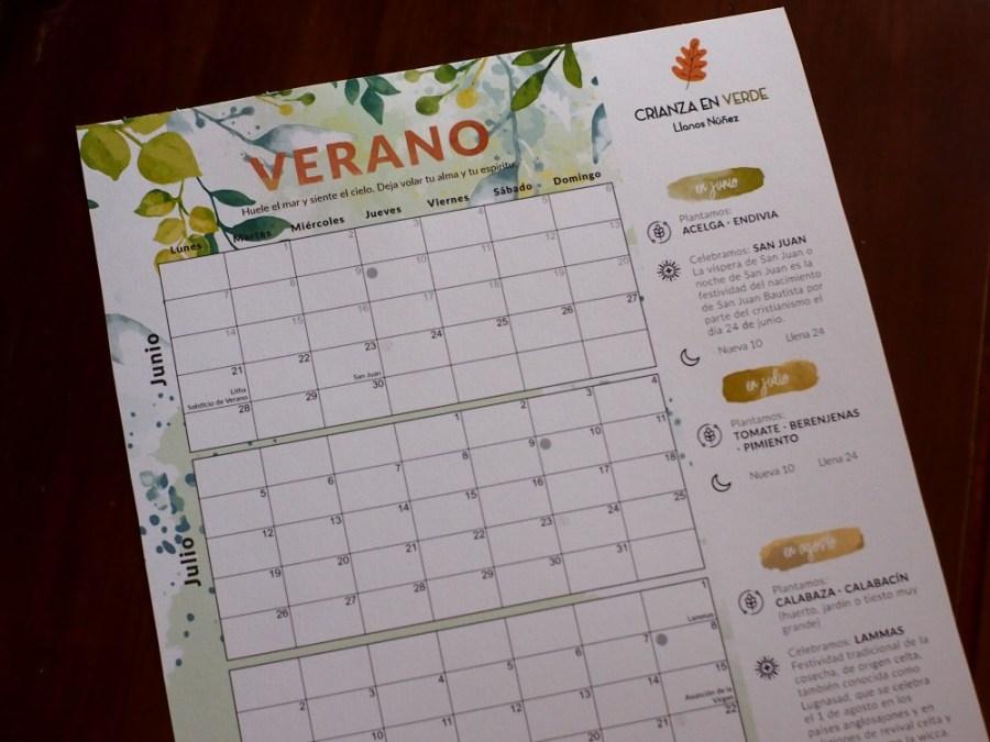 Foto del calendario/planificador de verano