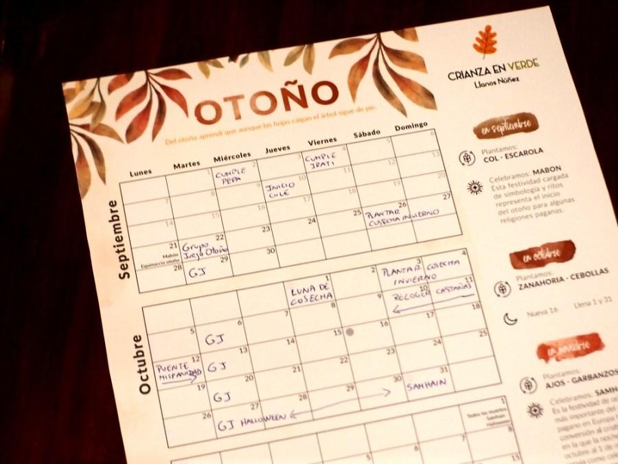 Foto de calendario o planner del otoño