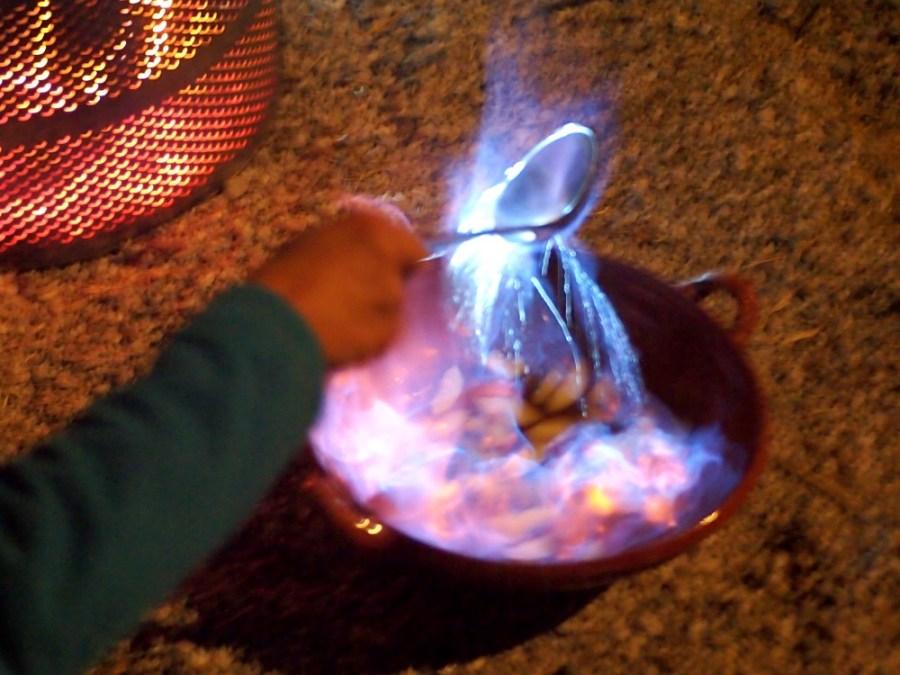 Queimada quemandose con llama
