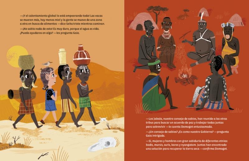Foto de página del libro  donde se ven niños llevando agua en la cabeza y personas de tribus reunidas