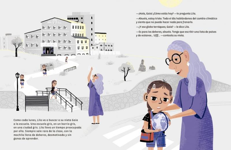 Foto de página del libro No hay Planeta B en el que sale Lila y Gaia, las protagonistas