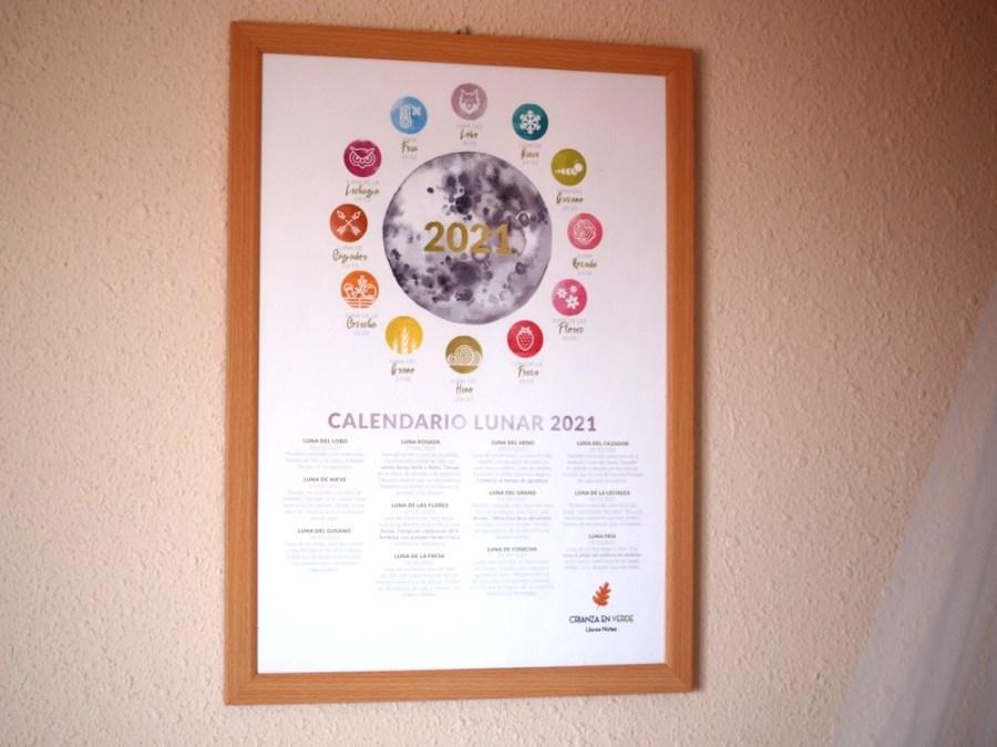 Poster de los nombres de las lunas enmarcado y colgado de la pared