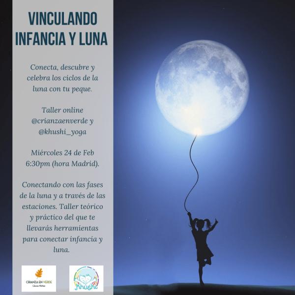 Foto de portada para el taller donde se ve una luna llena y una niña llevandola como globo y la info del taller