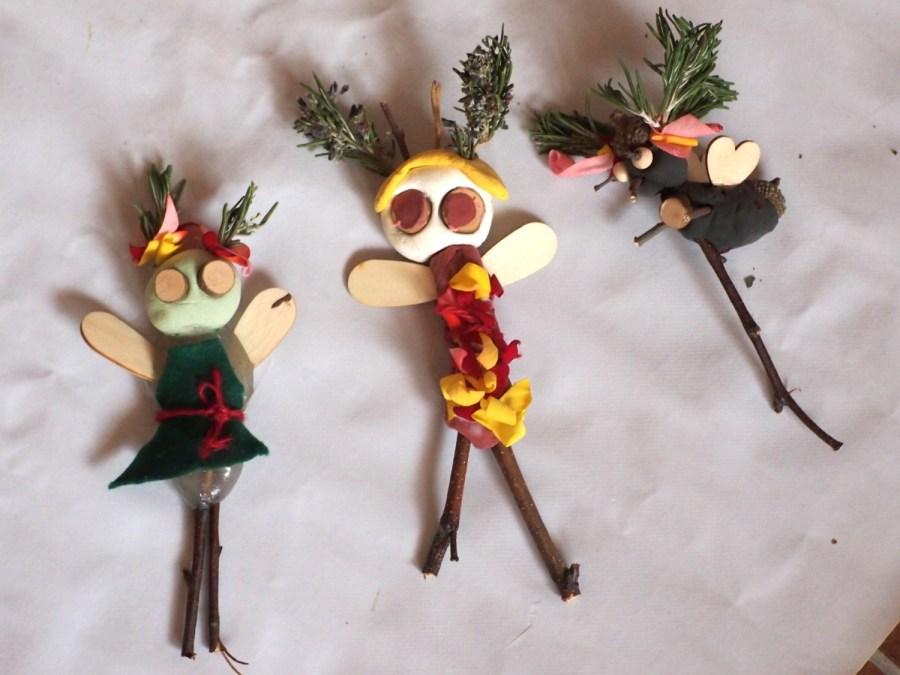 Muñequitos del bosque creado con la caja natre creative box de Zaida Mares y su método naturaleza creativa